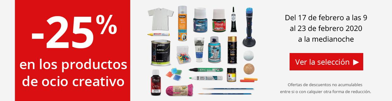 -25% en los productos para el ocio creativo