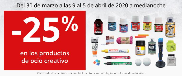 -25% en los productos de ocio creativo