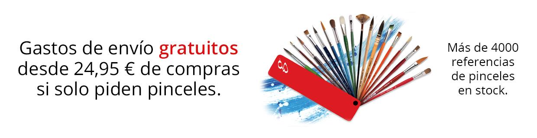 Gastos de envío gratuitos a partir de 24,95€ si solo piden pinceles.