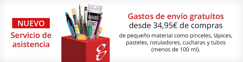 Gastos de envío gratuitos a partir de 34,95€ si solo piden pinceles o pequeños artículos.