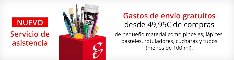 Gastos de envío gratuitos a partir de 49,95€ si solo piden pinceles o pequeños artículos.