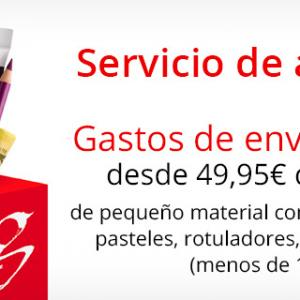 Gastos de envío ofertas desde 49,95€ de compra si piden pinceles o pequenos articulos.
